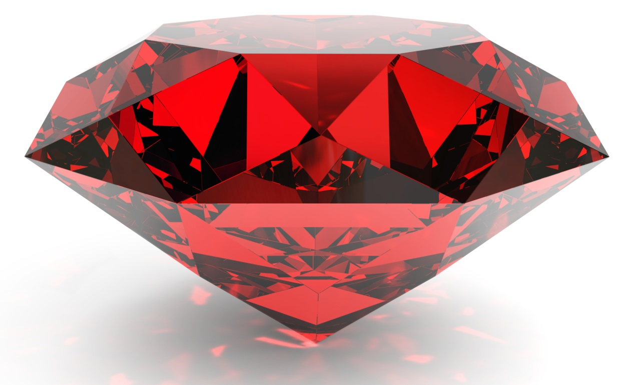 Very high resolution 3d rendering of a ruby isolated over white.